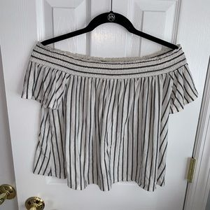 American Eagle Off the Shoulder Stripped Tee